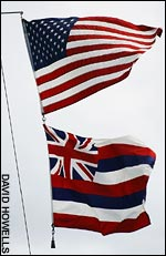 The Stars and Stripes with the 1816 Hawaiian flag